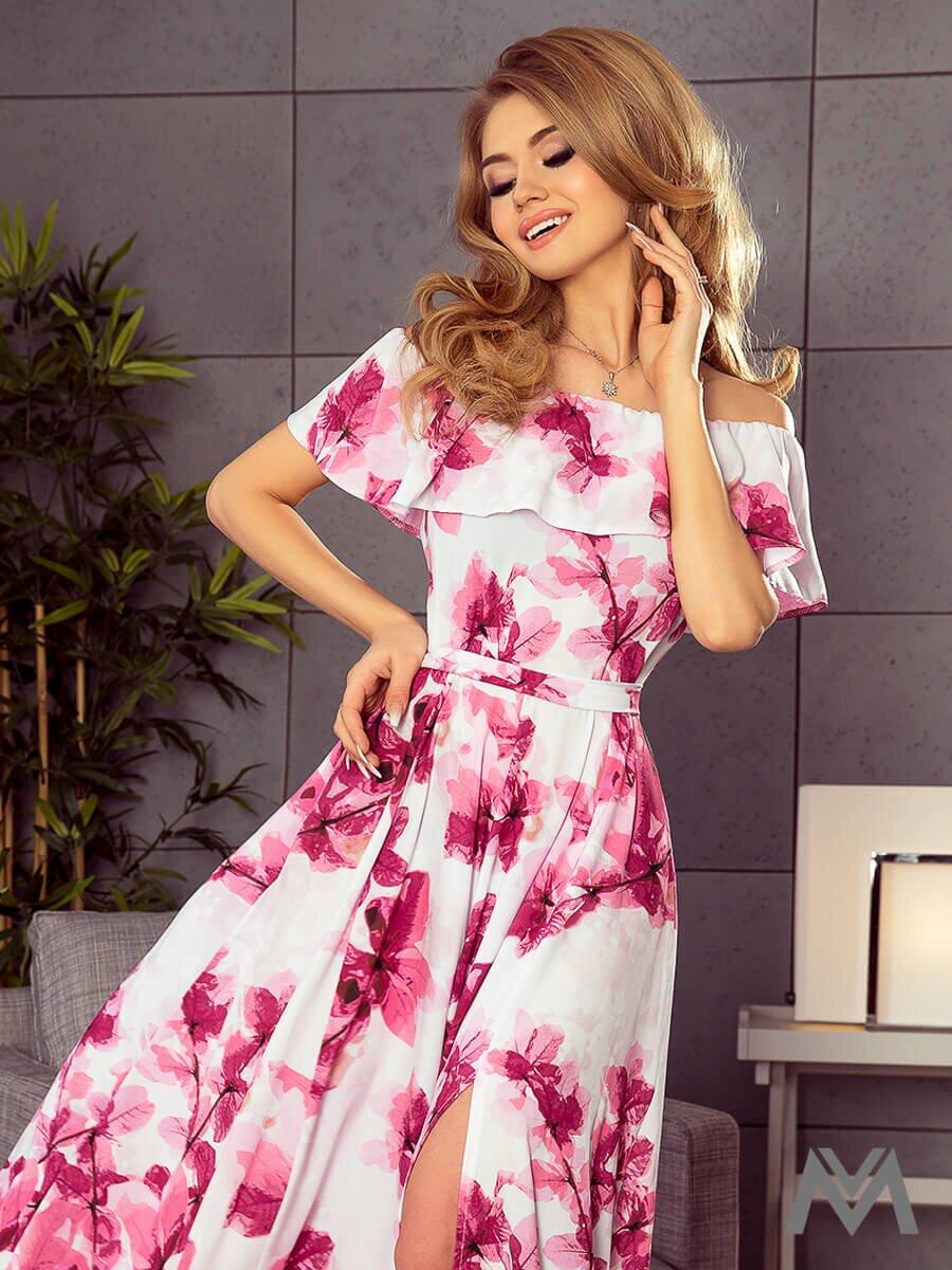 Dámske MAXI šaty 194-2 biele s kvetinovým vzorom  2cc304e4c4b