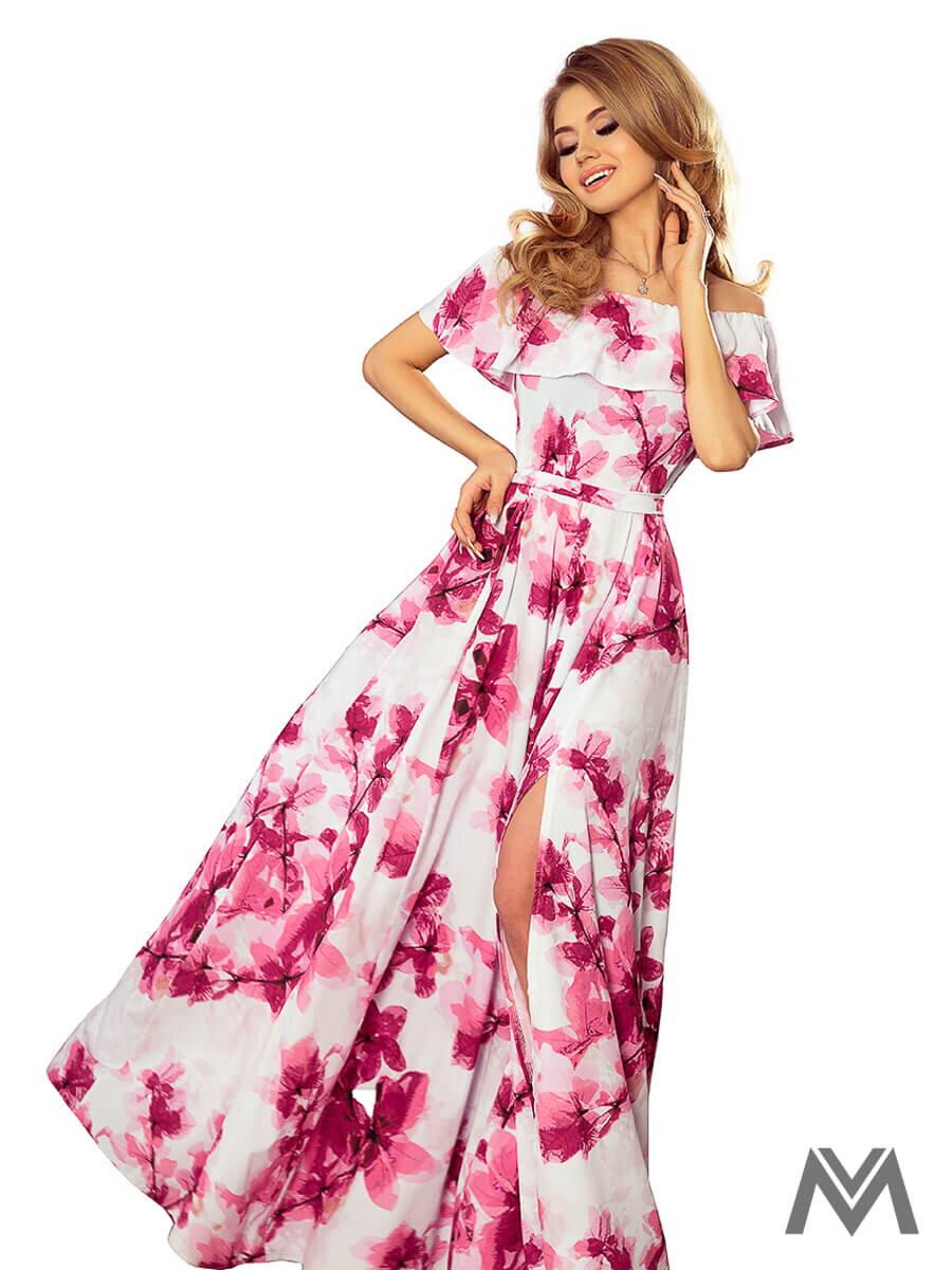 ba4b4bade Dámske MAXI šaty 194-2 biele s kvetinovým vzorom | ModneVeci.sk