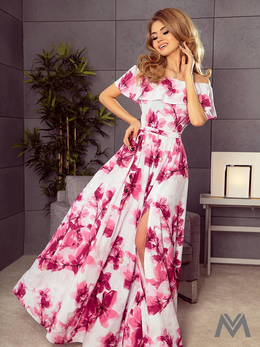 58a00151effb Dámske MAXI šaty 194-2 biele s kvetinovým vzorom ...