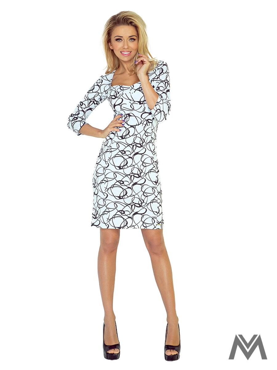 2df578ca9574 Elegantné dámske šaty 136-1 s geometrickým vzorom ...