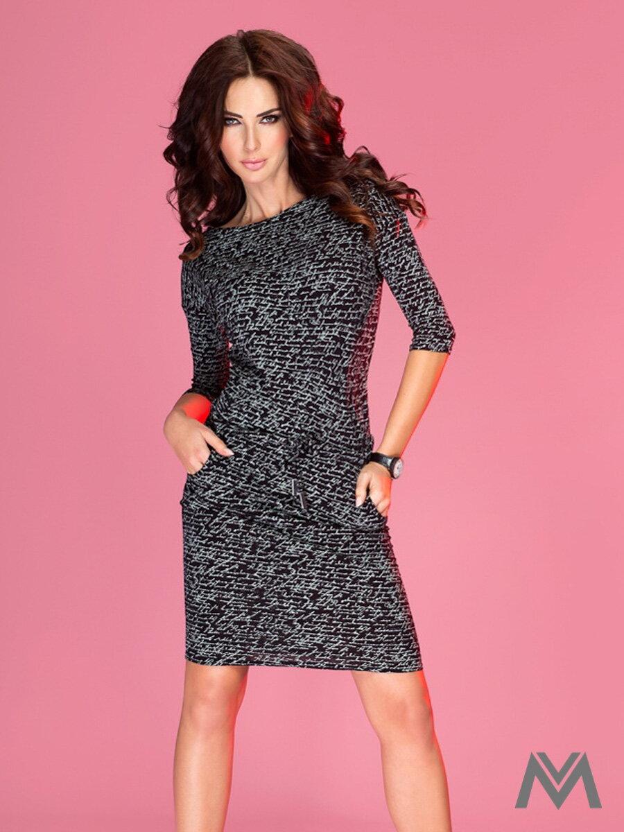 Športovo-elegantné šaty s lodičkovým výstrihom 13-9 čierne ... 6561a6486b9