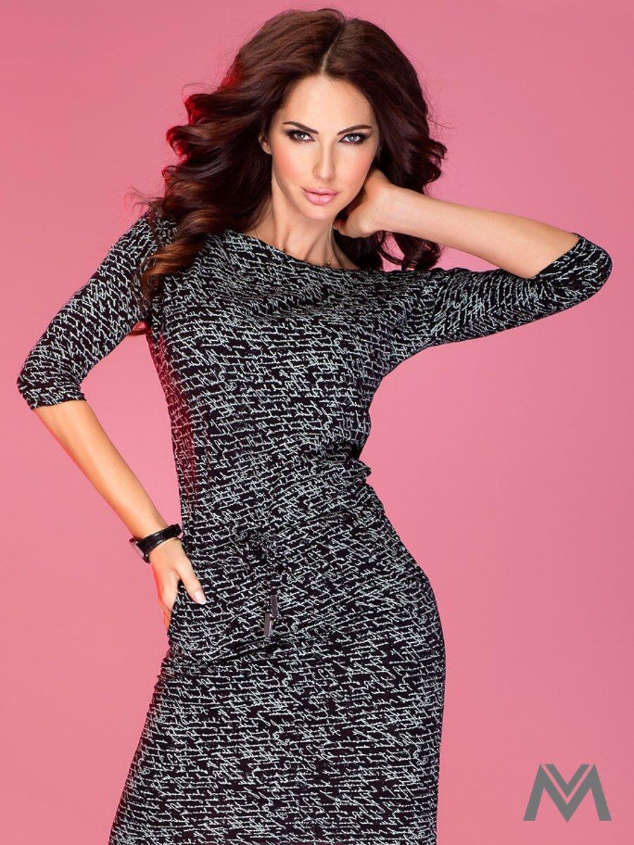 Športovo-elegantné šaty s lodičkovým výstrihom 13-9 čierne ... 2244159c7e1