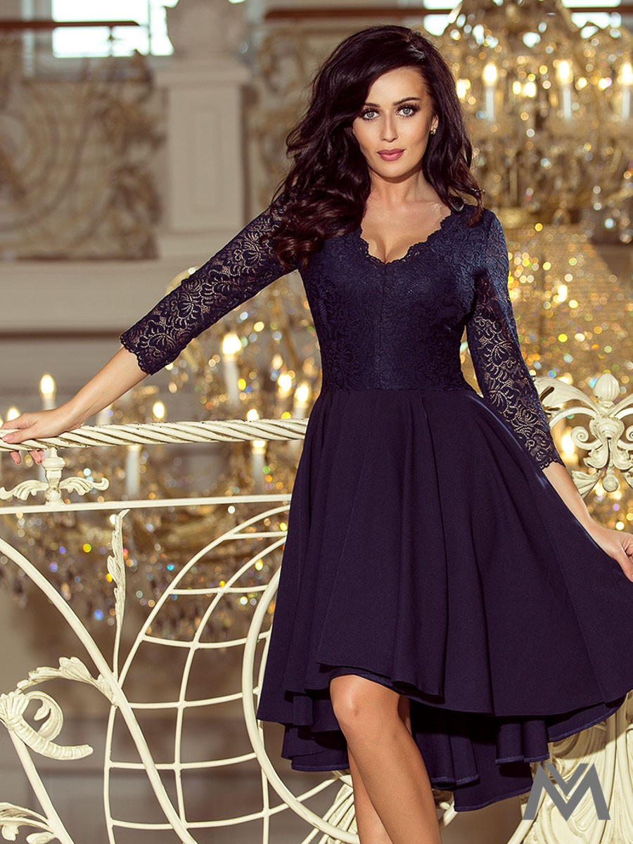 0f249e634 Elegantné dámske šaty 210-2 tmavomodré | ModneVeci.sk