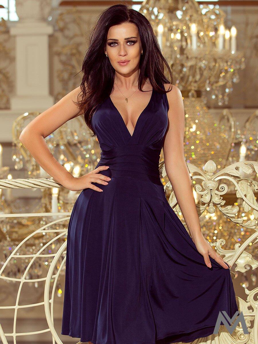 b6e94a520506 Splývavé dámske šaty 219-1 tmavomodré ...