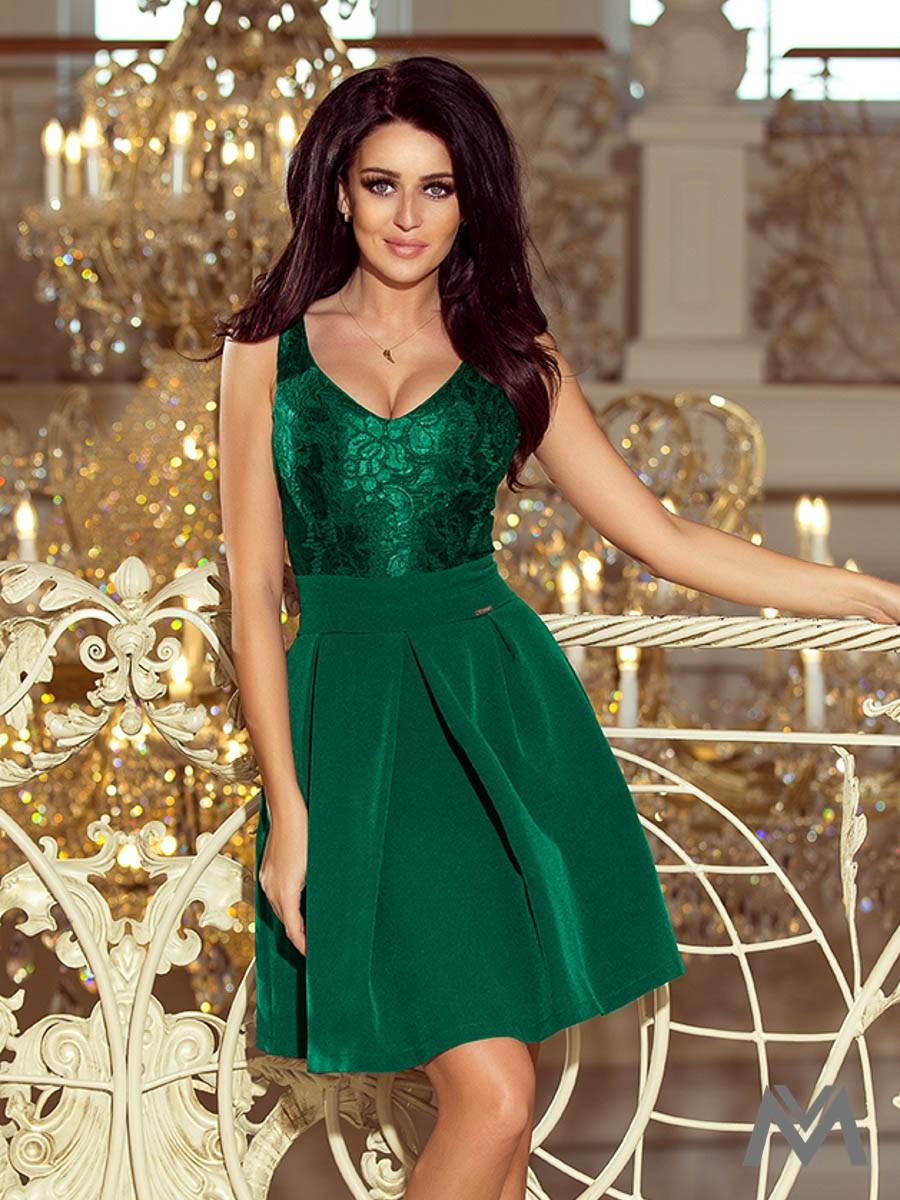 Elegantné dámske šaty 208-4 smaragdové  5c875e0ad34