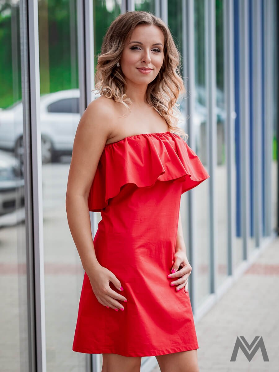 bd18a0f470c5 Dámske šaty s volánom VS-SA 1858 červené