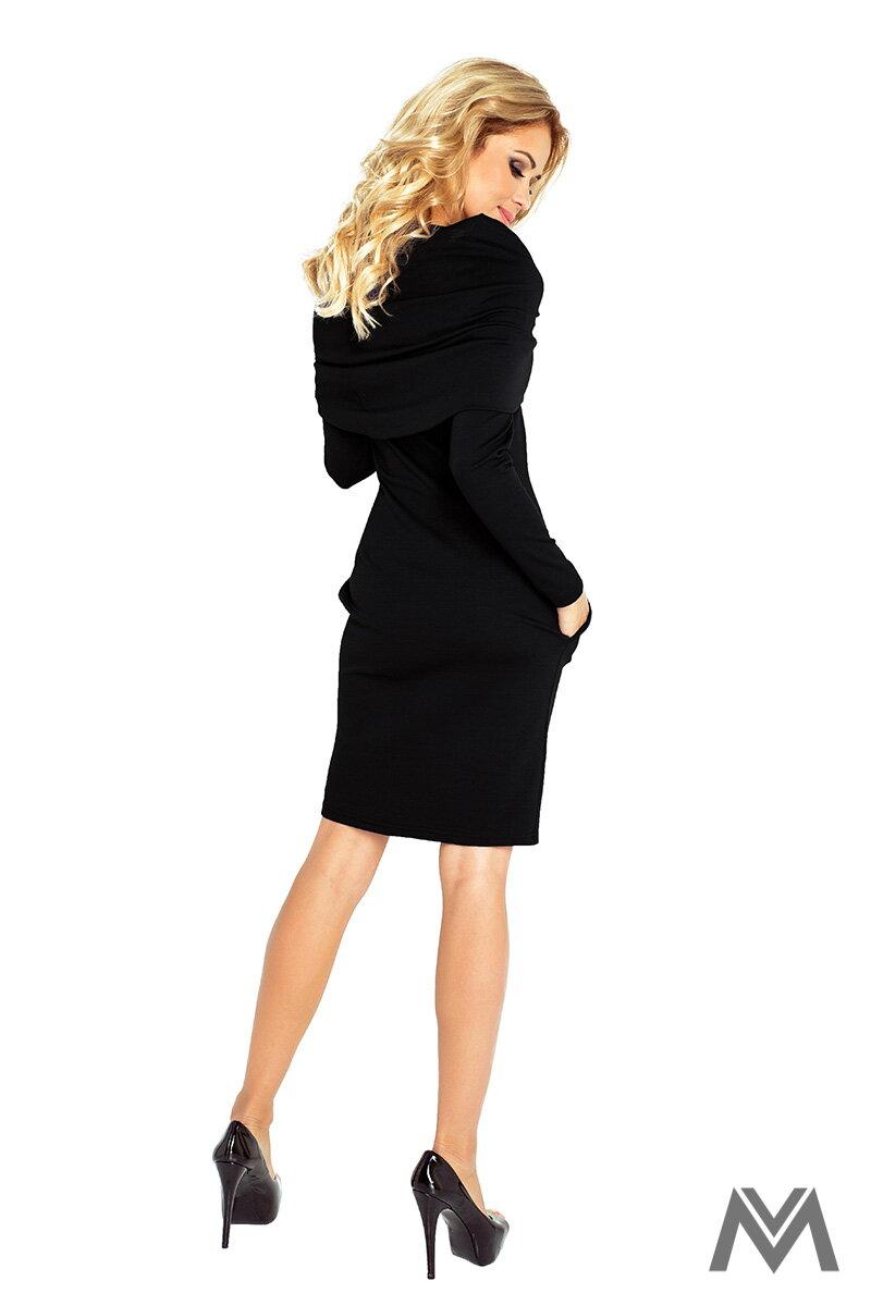 e80daff2bd Čierne klasické šaty s dlhým rukávom 131-1 ...