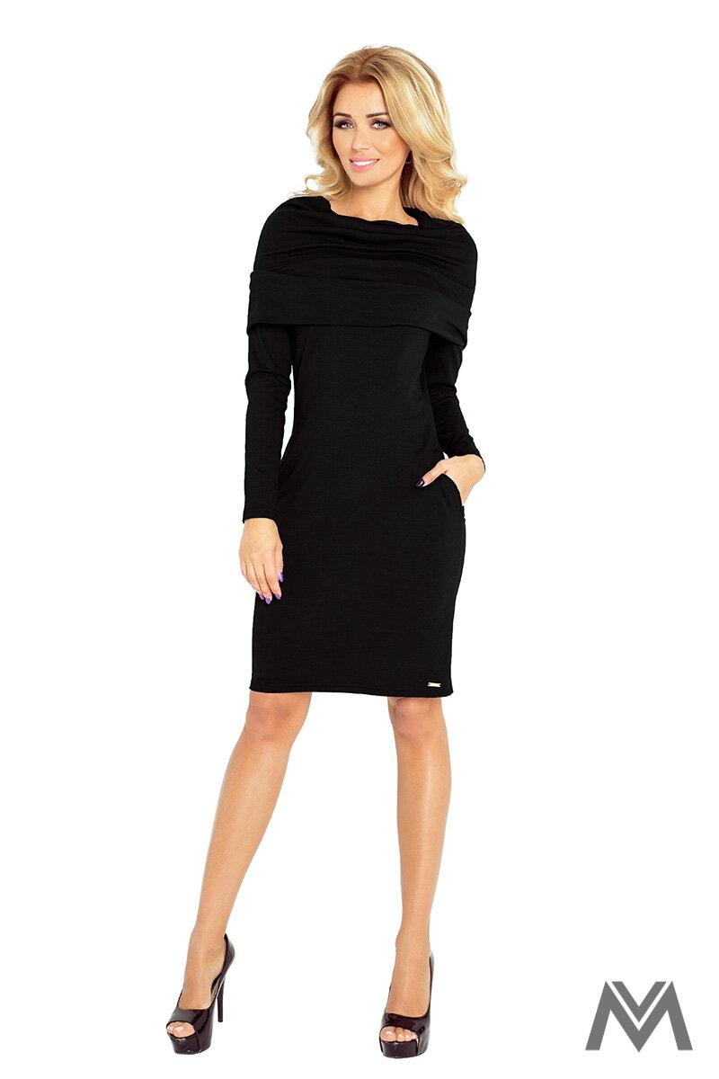Čierne klasické šaty s dlhým rukávom 131-1 ... 1eab744470e