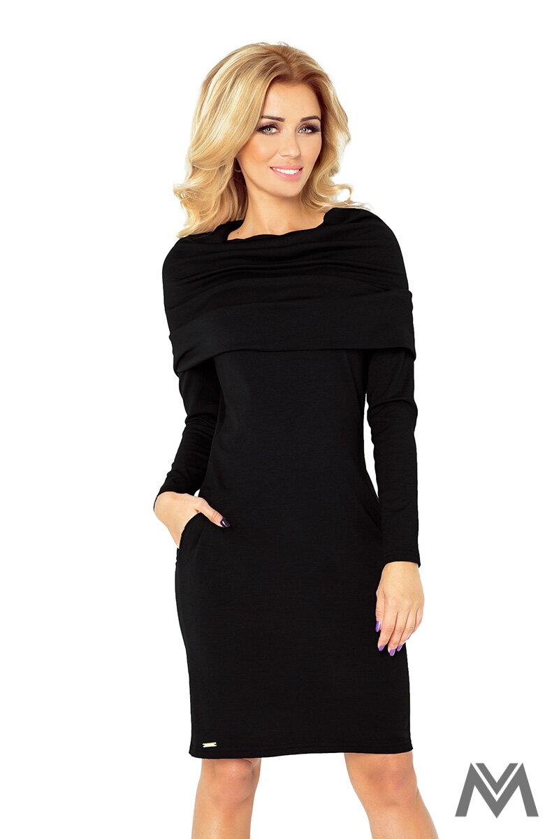 Schwarzes klassisches Kleid mit langen Ärmeln 131-1  ModischeSachen.de 9e51d08c0d