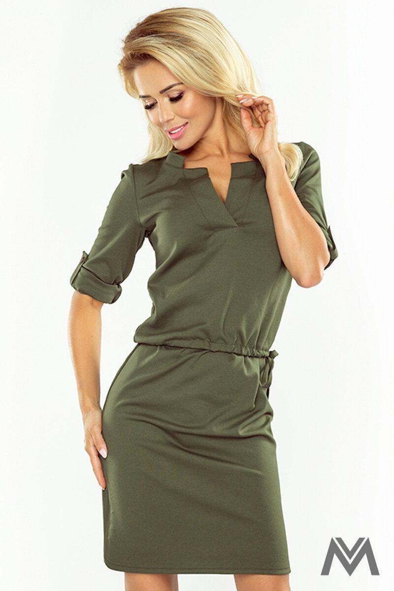 c32ead1074cb Dámske šaty v zelenej army farbe AGATA 161-2