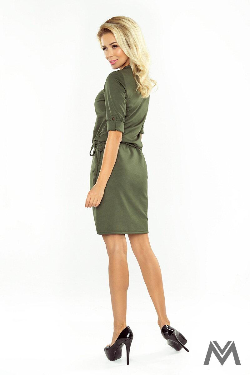 7f757463fa6e Dámske šaty v zelenej army farbe AGATA 161-2 ...