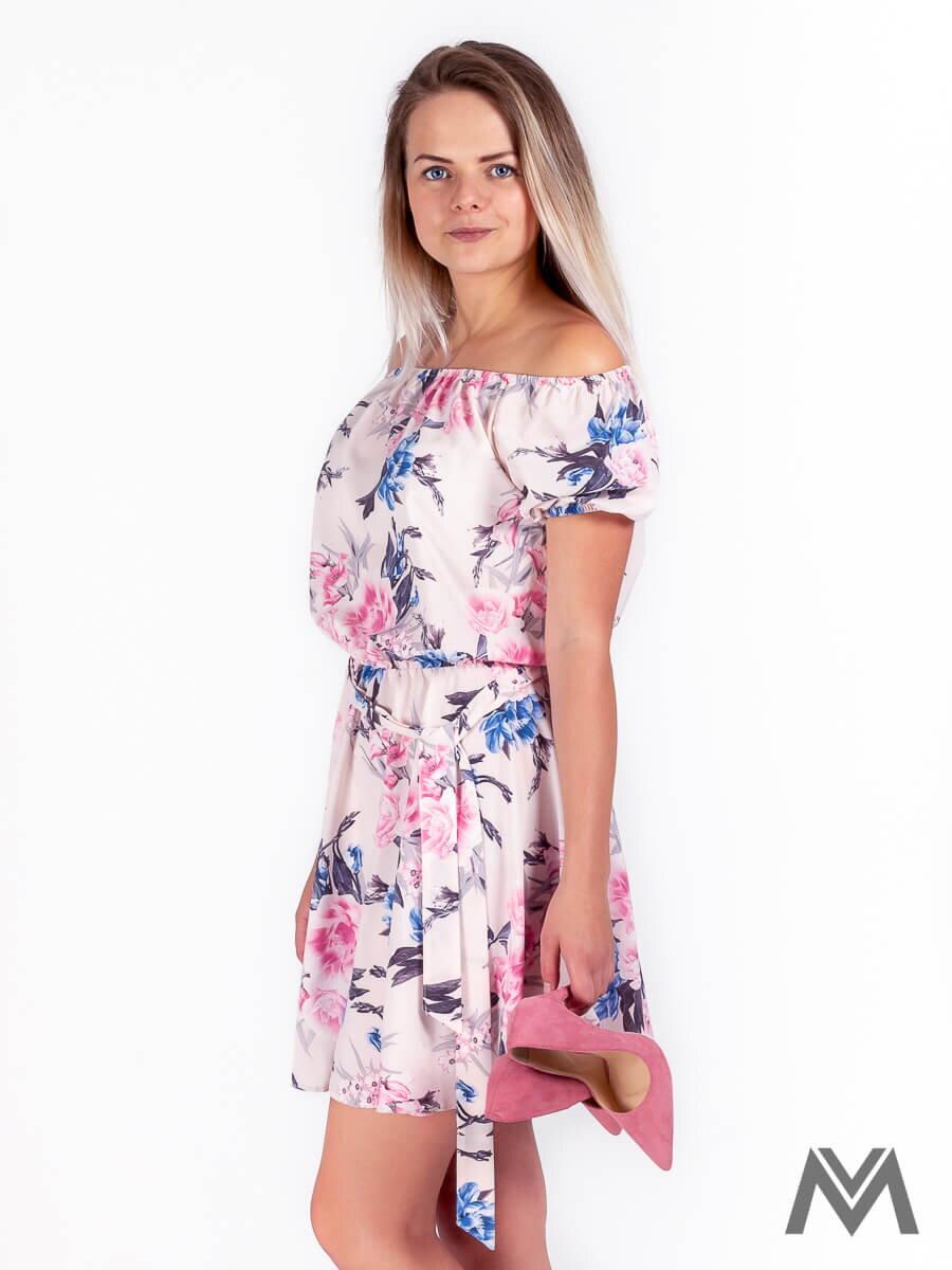 Dámske šaty na leto v ružovej farbe s kvetinovým vzorom  93a87597449