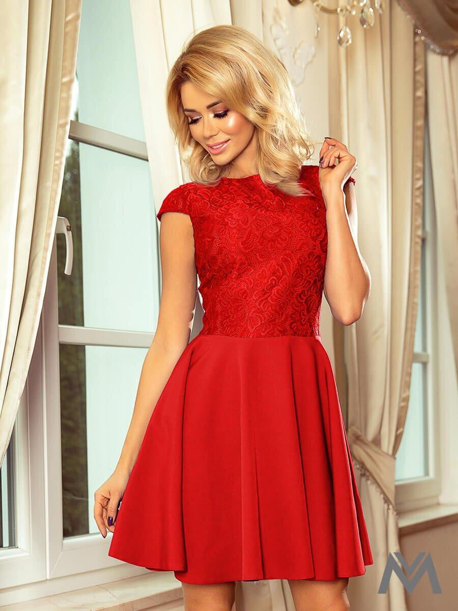 Krásne dámske šaty 157-8 červené s čipkou  41bc2233037