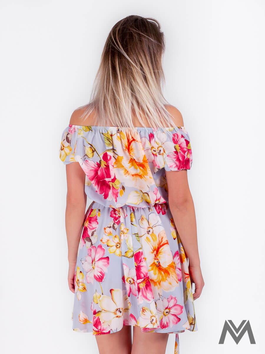 9aa46c390 Dámske šaty na leto v svetlomodrej farbe s kvetinovým vzorom ...