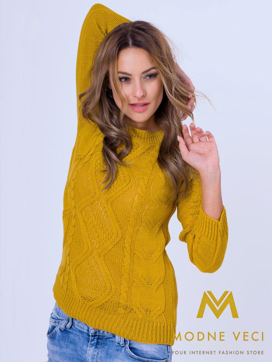 Dámsky pletený sveter JASMIN horčicový  edf2564f37f