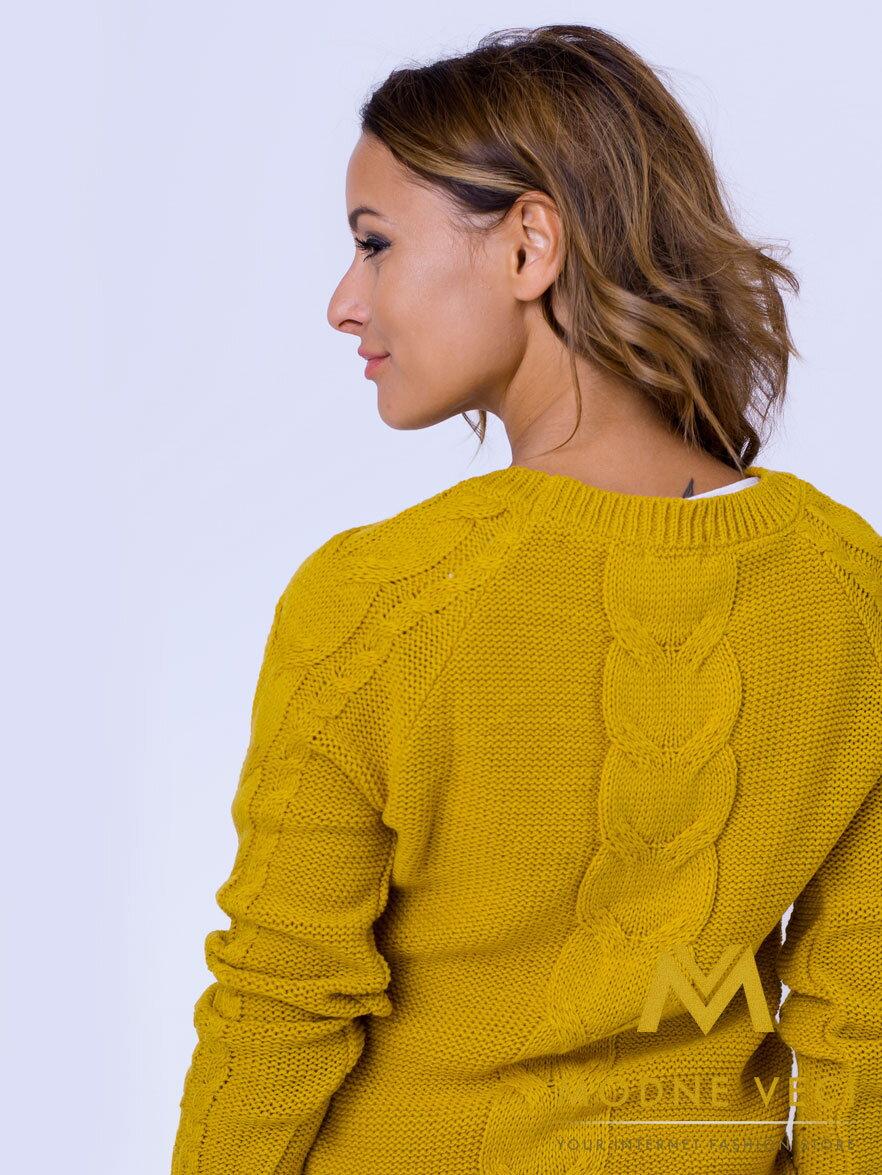 44412eae2a46 Dámsky pletený sveter JASMIN horčicový ...