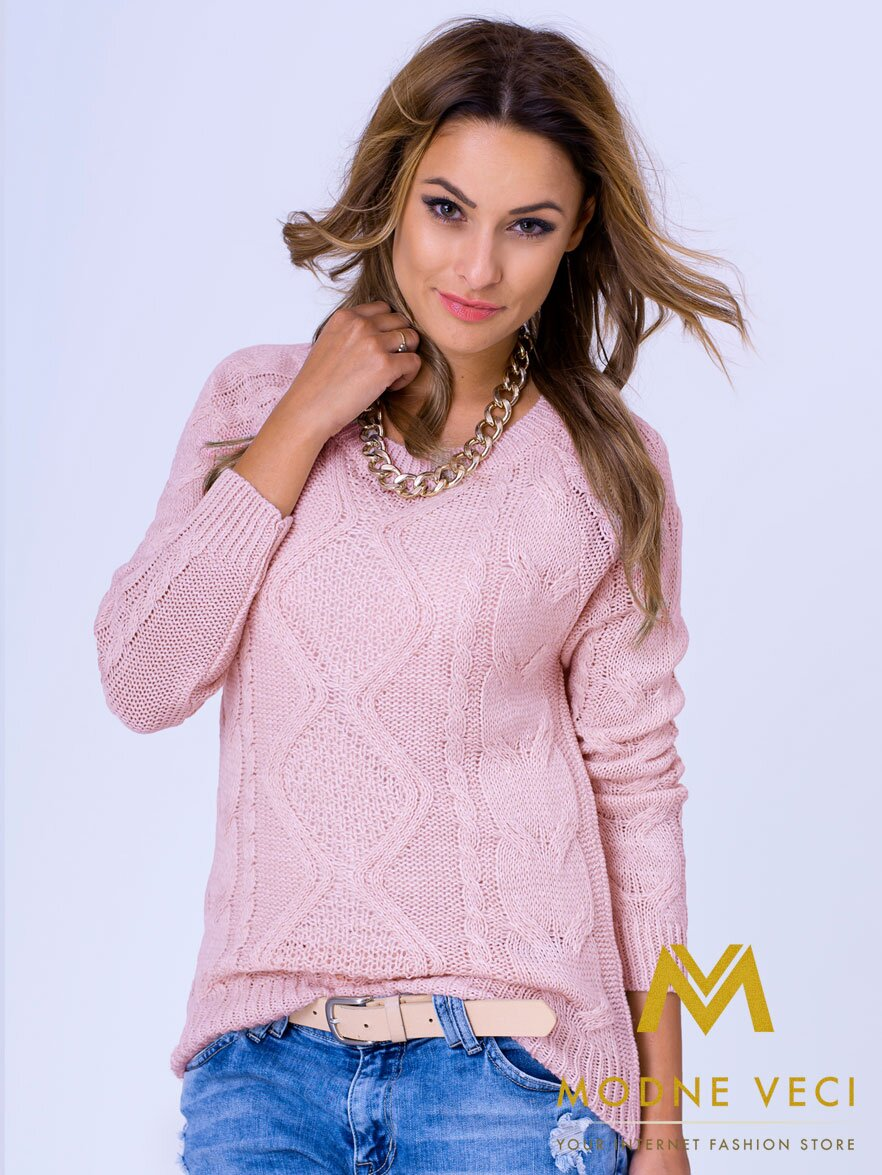 7a27bac99e4b Dámsky pletený sveter JASMIN ružový