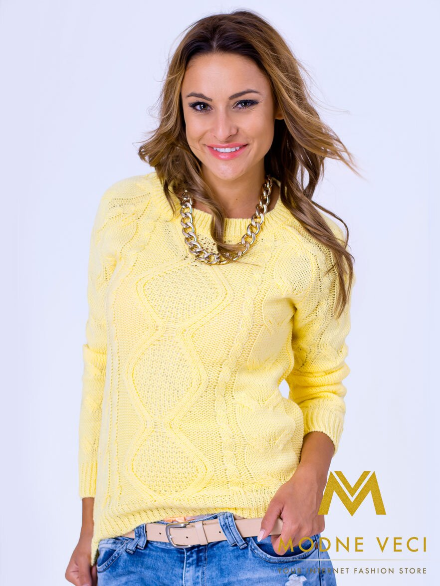 Dámsky pletený sveter JASMIN žltý  91358ca5c23