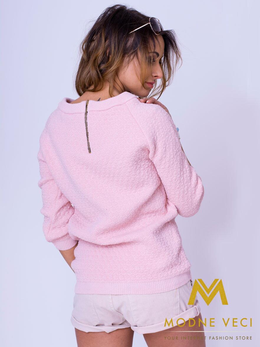 243e48471716 Štýlový dámsky sveter MAYA - ružový ...