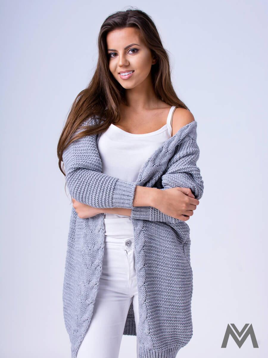 Dámsky pletený sveter HENA- svetlo sivý  218bf2354c7