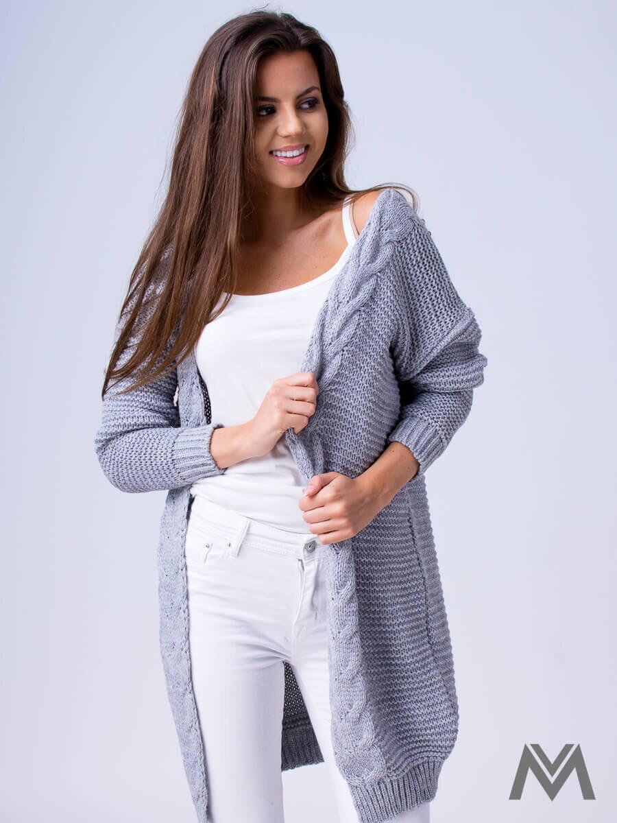 58526477ef57 Dámsky pletený sveter HENA- svetlo sivý dámsky sveter