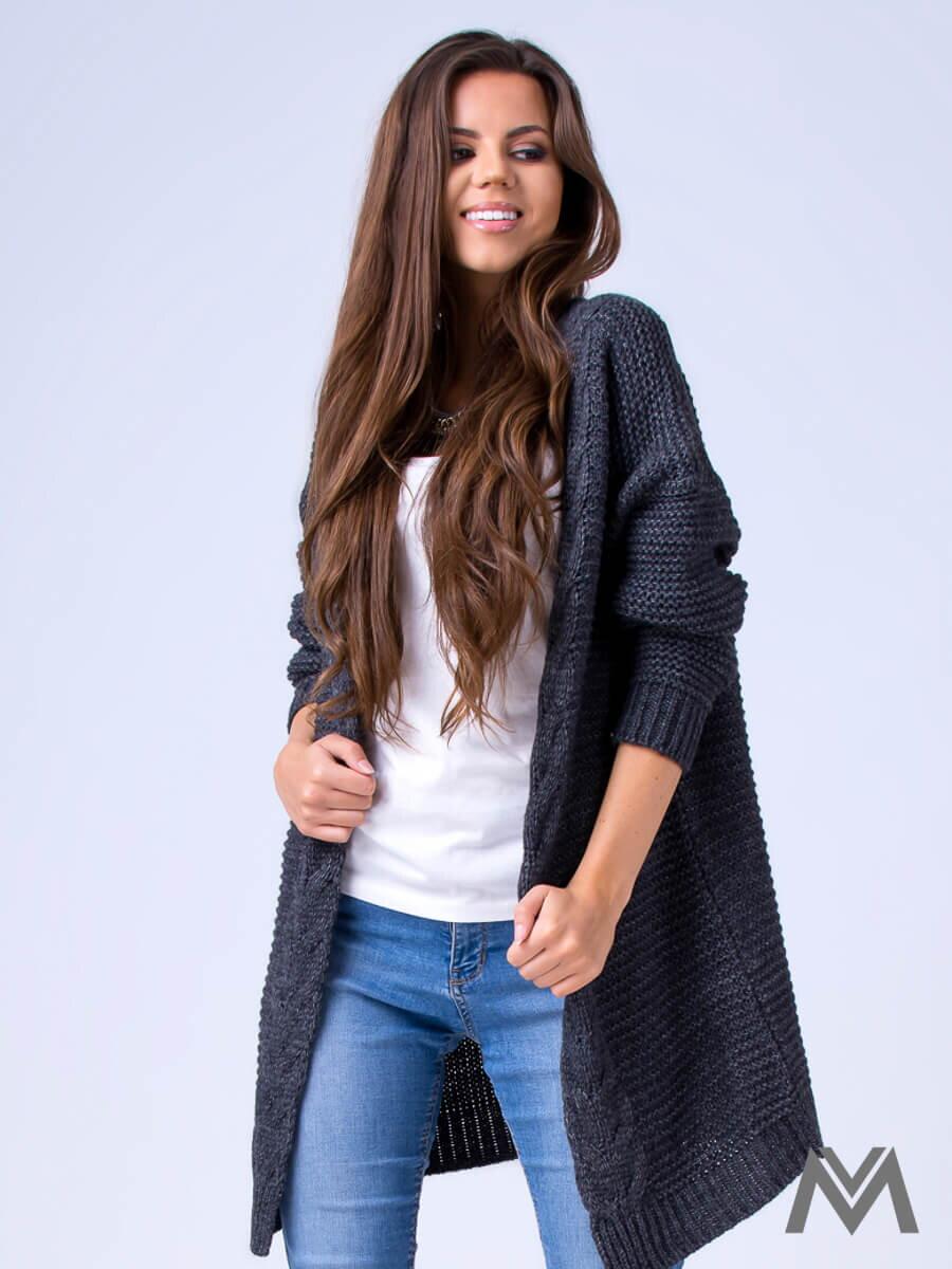 f750c7425923 Dámsky pletený sveter HENA- tmavo šedý