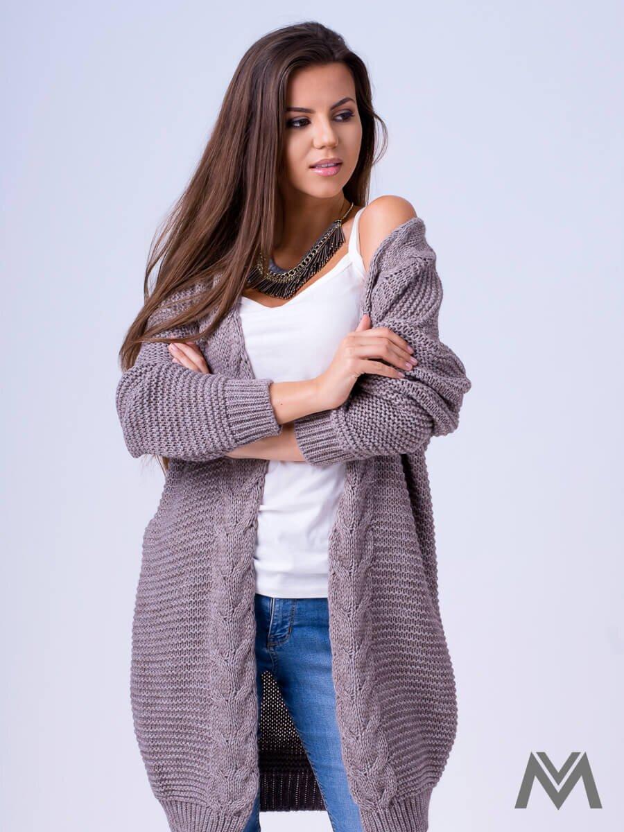 503d1507aebc Dámsky pletený sveter HENA- mocca