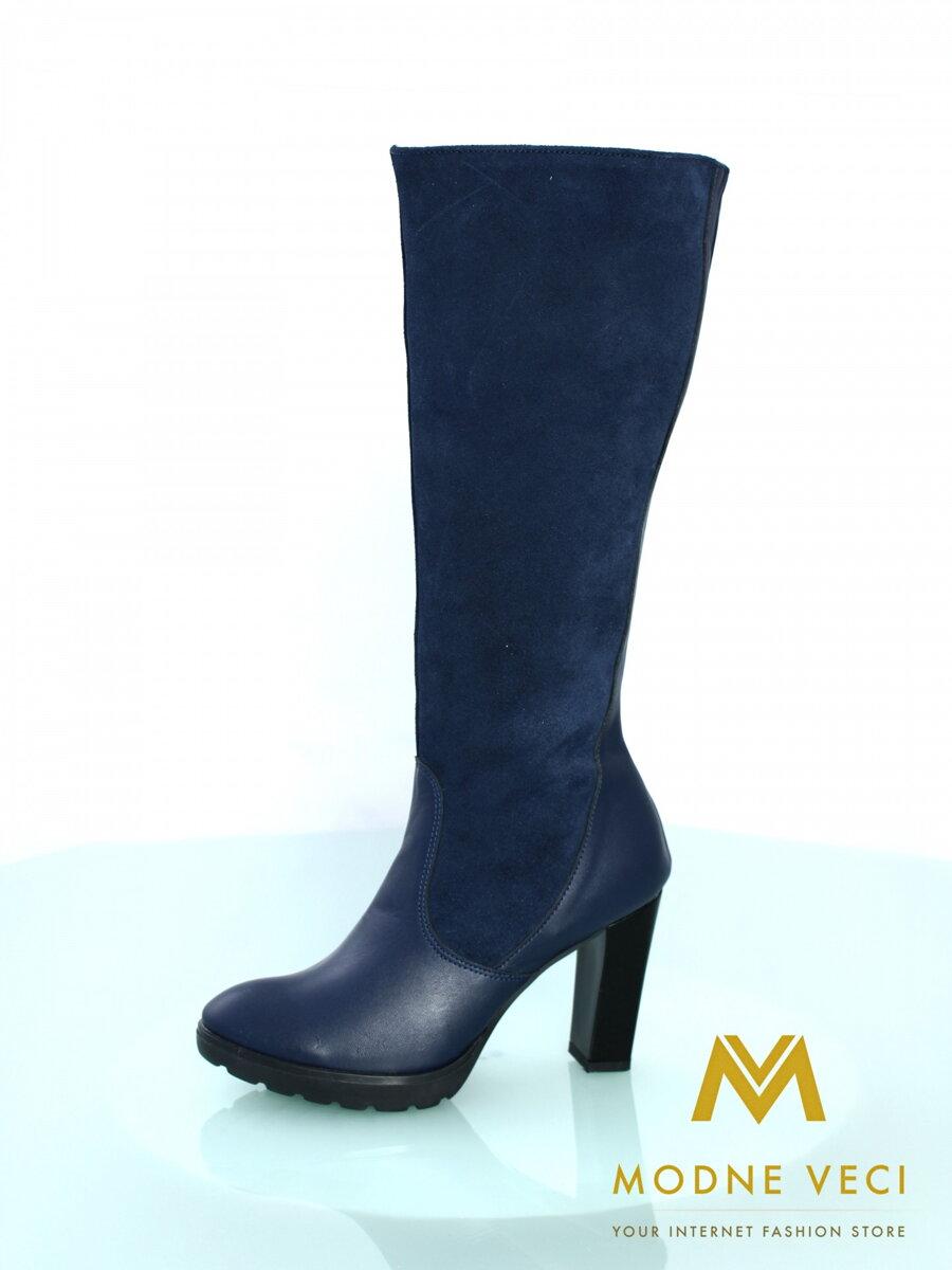 Dámske čižmy Viki modré s platformou-pravá koža b3a65f2ec1a