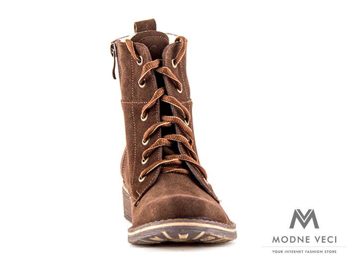 b24e4a96c Dámske kožené topánky na zimu kotnik vyšši 04 hnedé čižmy, kotníkové ...