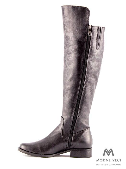 b9400eb57519 Vysoké čižmy nad kolená z pravej kože Ema 04 čierne ...