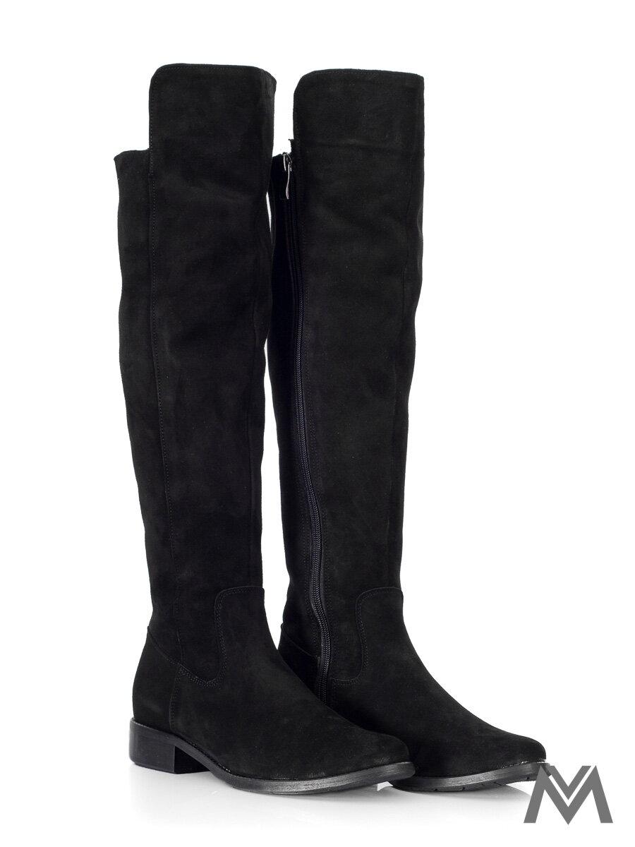 Vysoké čižmy nad kolená z pravej kože Ema 040 čierne nubuk dámske ... d399da8bcce