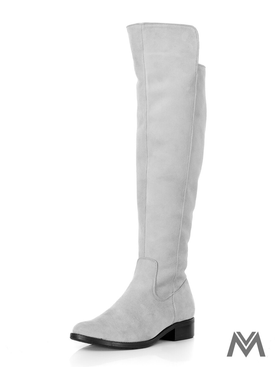 df98f1eb3698 Vysoké čižmy nad kolená z pravej kože Ema 040 šedá