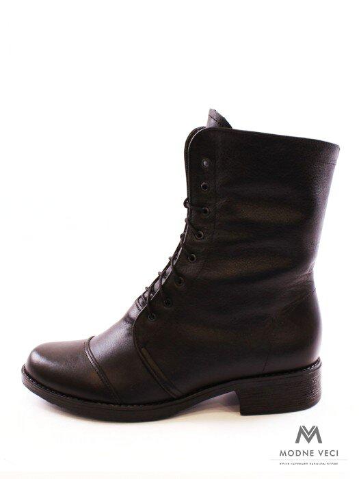 Kožené topánky na zimu na šnurovanie čierne  40cf90b0d19