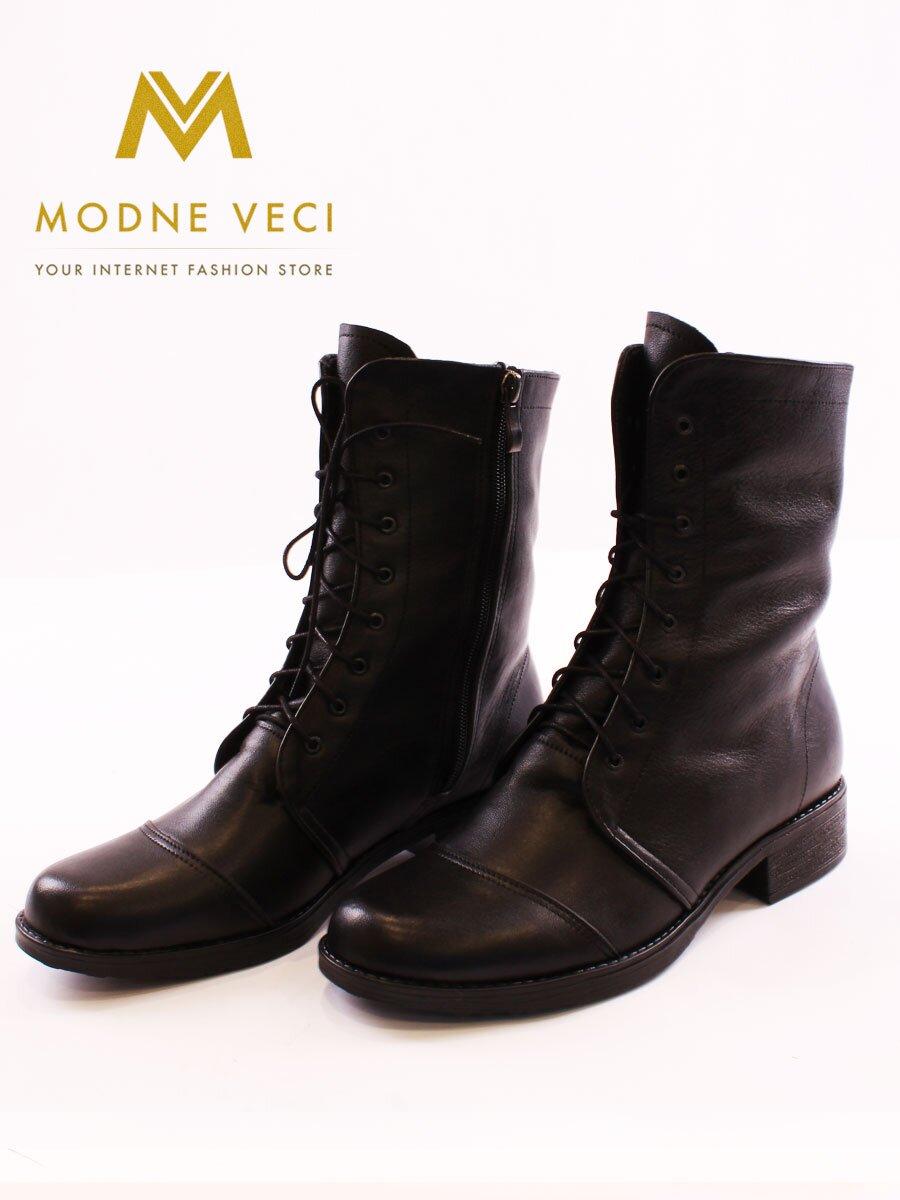 084fa6f952 Kožené topánky na zimu na šnurovanie čierne