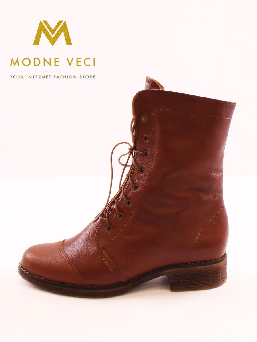 1511ddd2b82b Kožené topánky na zimu na šnurovanie hnedé čižmy