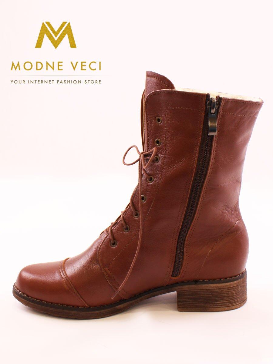 1f3312f8cc Kožené topánky na zimu na šnurovanie hnedé