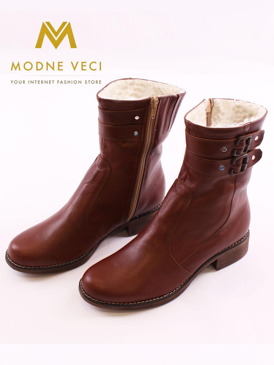 93aaa9b806 Kožené topánky na zimu s prackou hnedé čižmy