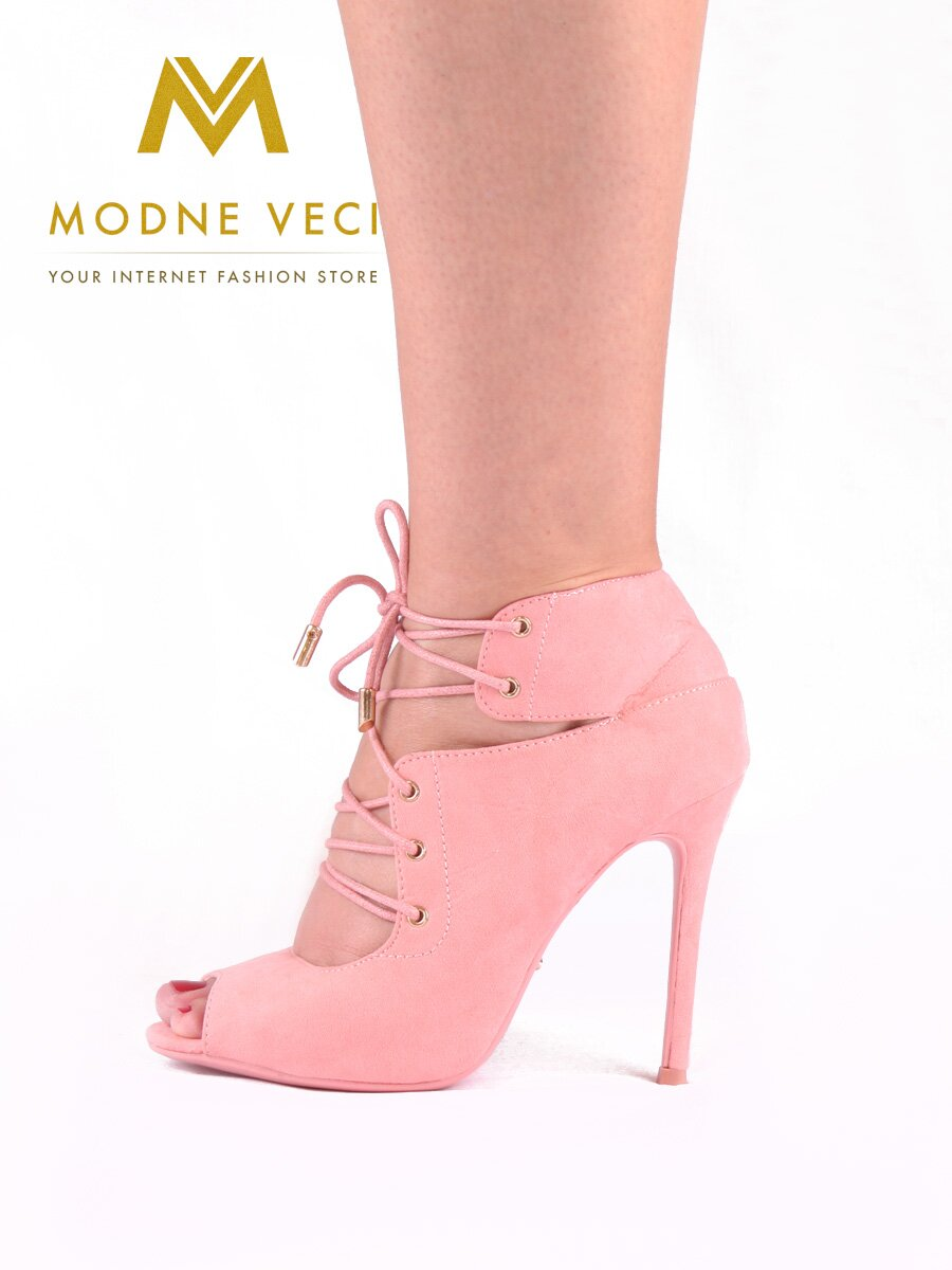 d18b43d00e Moderné topánky s viazaním v ružovej farbe 5021-20