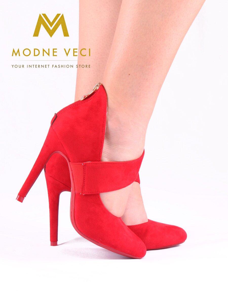 Krásne červené topánky na ihličkovom podpätku 1130-19  43585214969
