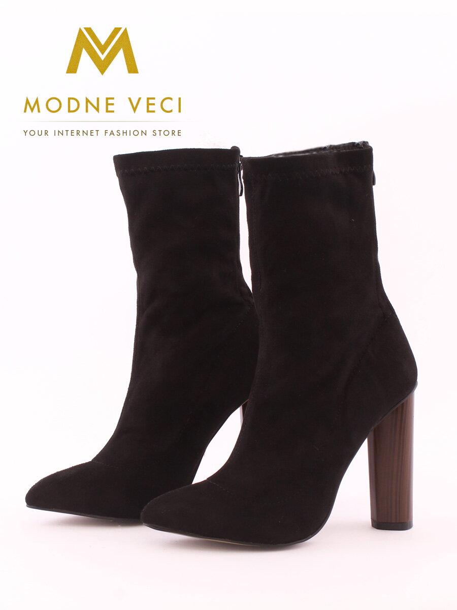 78ae16a59c34 Elegantné čierne topánky so širokým podpätkom 6049-1 BLACK čižmy ...