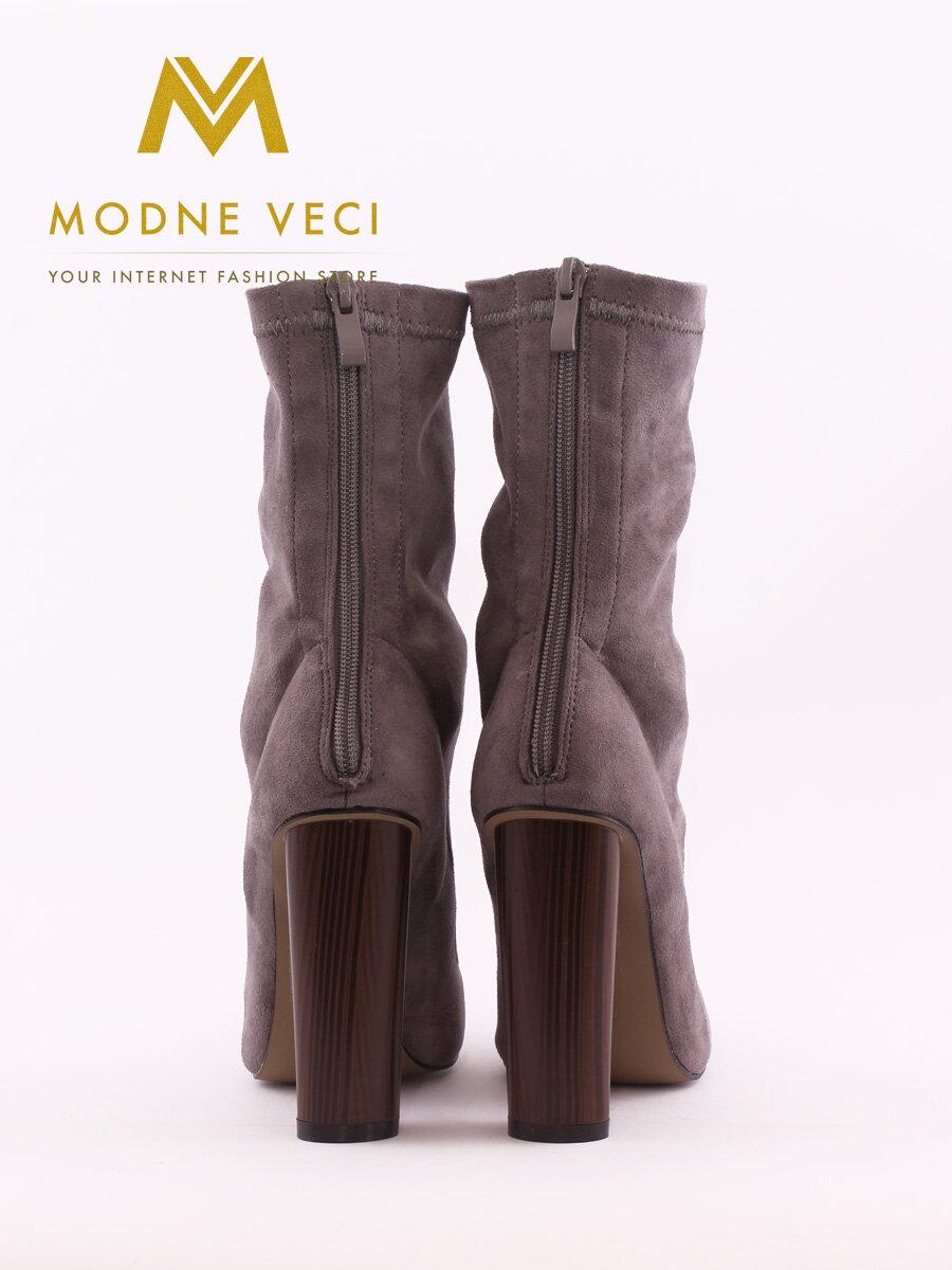 4ecf4cfff8 Elegantné šedé topánky so širokým podpätkom 6049-5 čižmy ...