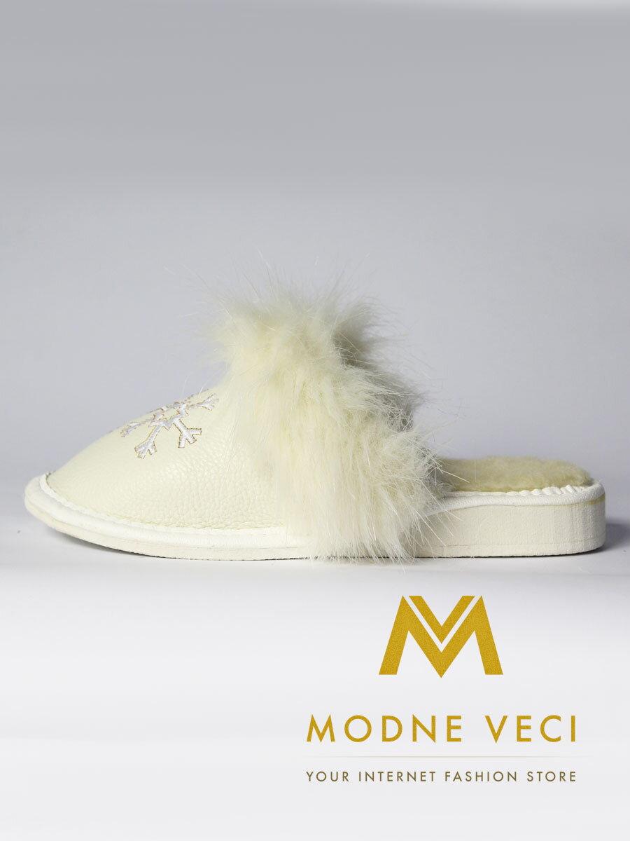 1c8602b4297e Dámske kožené papuče biela vločka model 20 ...