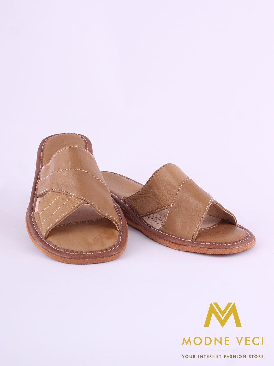 5c4b82253ed2 Dámske kožené papuče model 44 hnedé na opätku