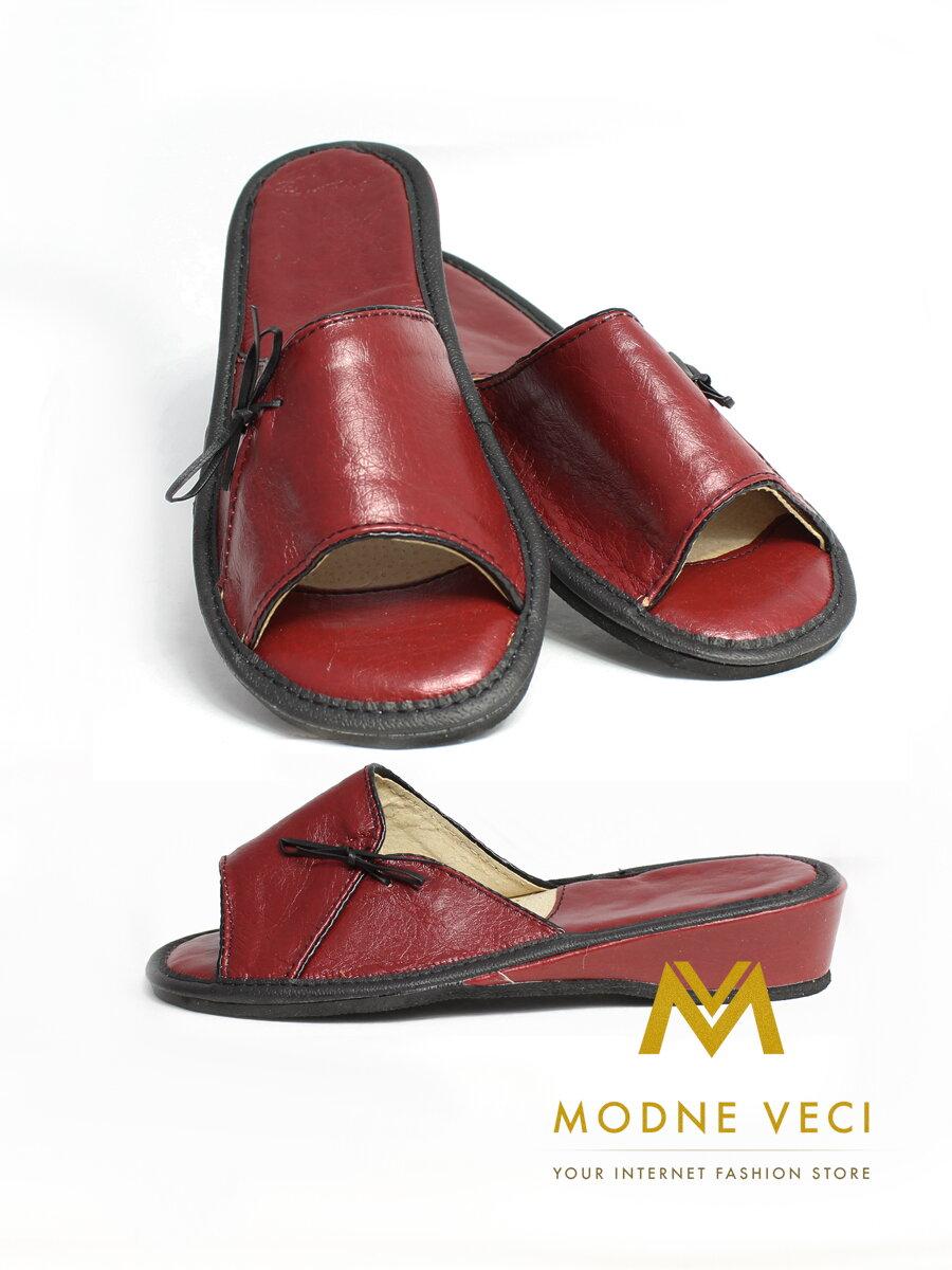 ba6dc9ceae10 Dámske kožené papuče model 50 bordo
