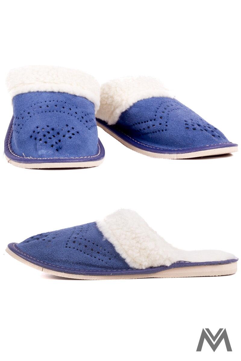 37f44d93f031 Dámske kožené papuče Model 18 modré