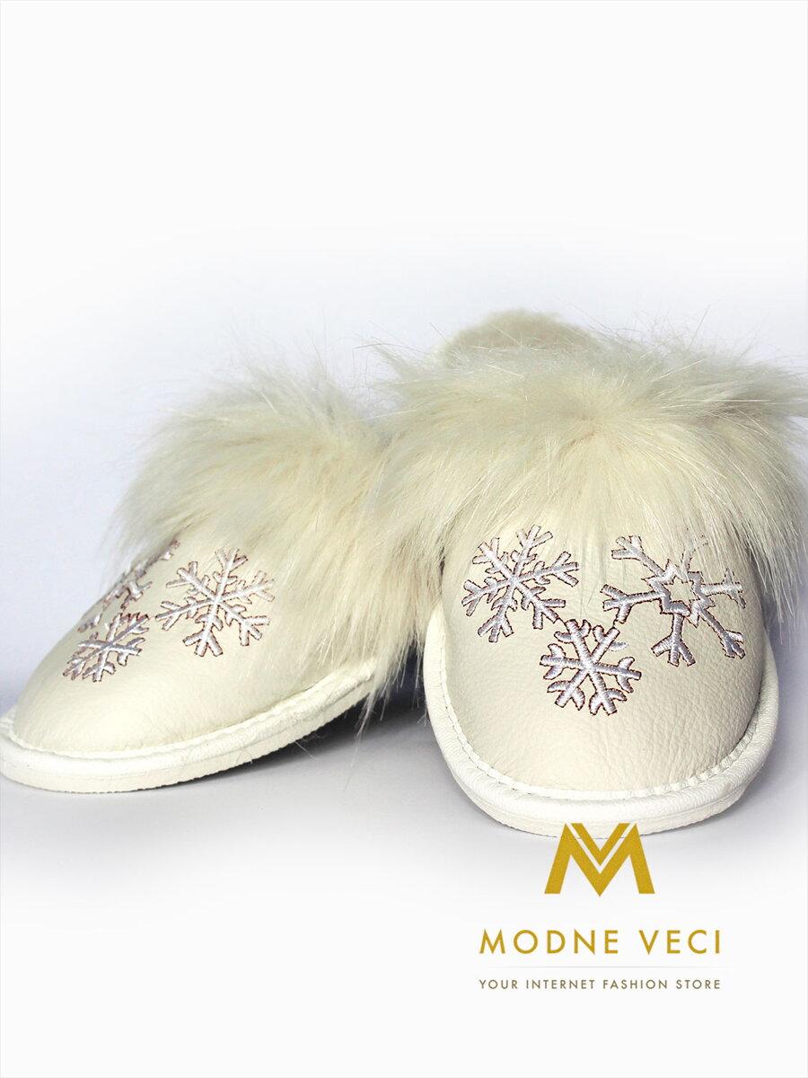 1a4463eec510 Dámske kožené papuče biela vločka model 20
