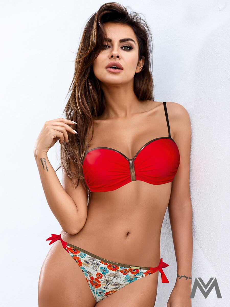 Luxusné dámske plavky 145 Ashley 2b červený mak  2f0eef5dbc