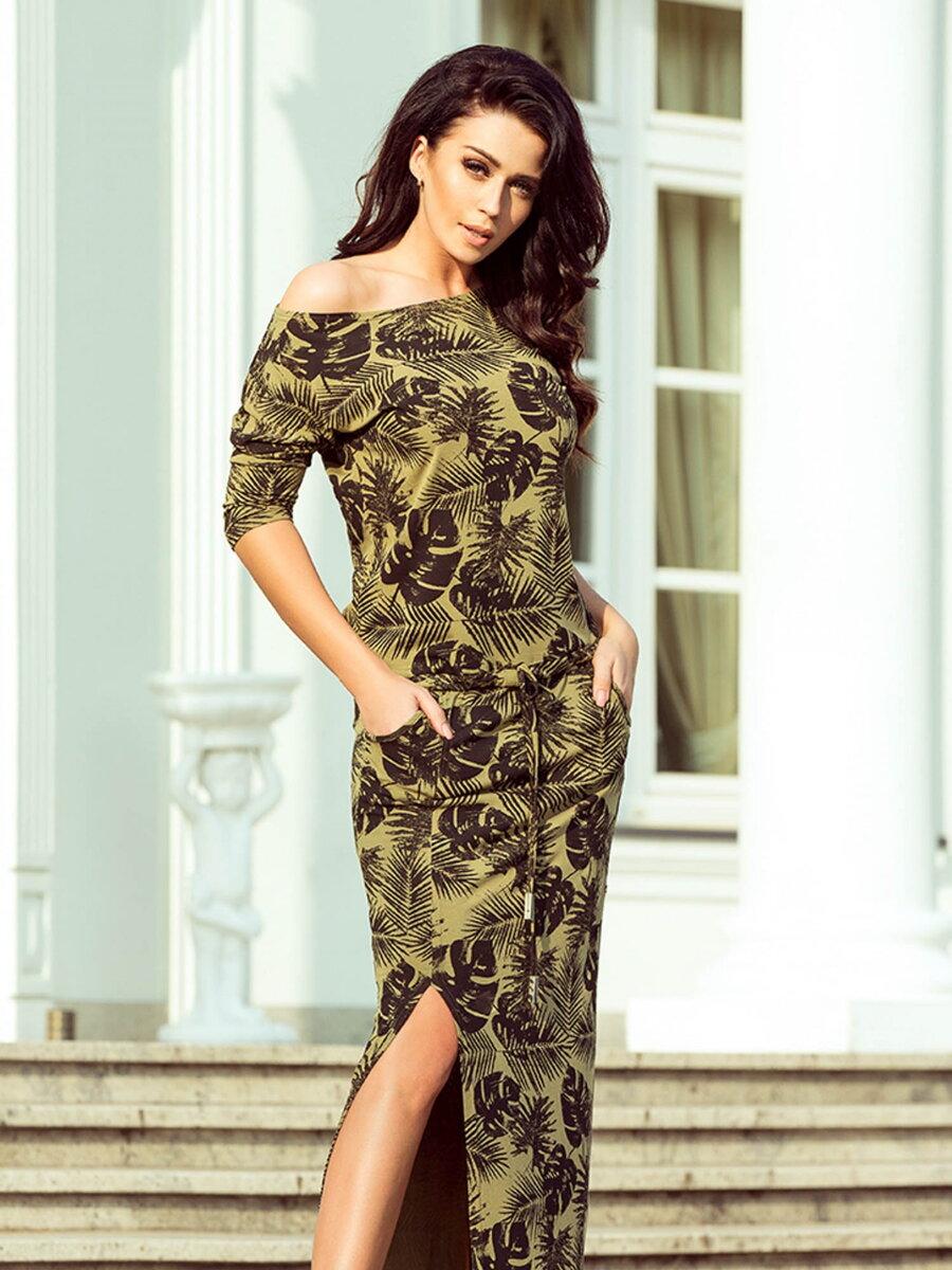 ce65f22ad4ac Dámske šaty 220-2 s tropickou potlačou
