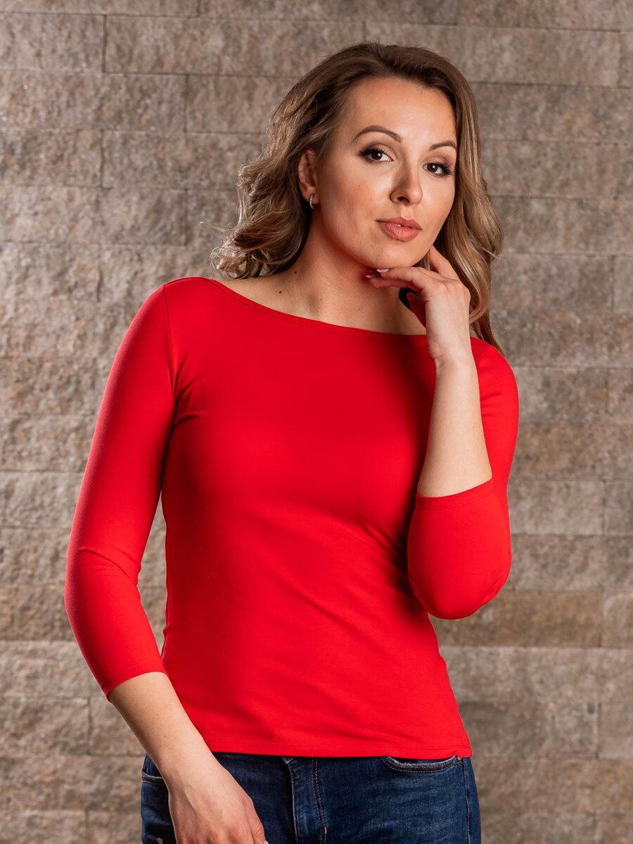 1e289320480f Dámske tričko MILA s lodičkovým výstrihom VS-DT1905 červená ...