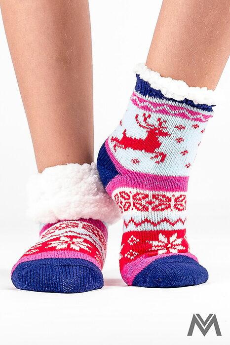 2d6cf212c016 Dievčenské termo ponožky sobík červená-modrá